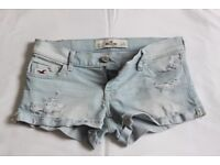"Genuine Hollister Faded Denim Shorts Size 26"" waist, As new !"