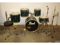 Pearl Export Select Teal Mist 5 Piece Full Drum Kit (20in Bass) + All Stands + Cymbal set + Stool
