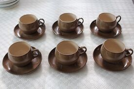 Denby 6 cup and saucers