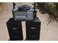 PA System Complete - Phonic Amp, 2 Prosound PA speakers & Stands