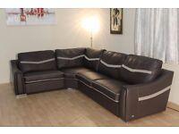Ex-display Sisi Italia Victor dark brown leather and fabric corner sofa