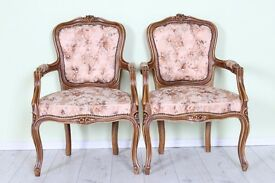 2 BEAUTIFUL LOUIS FRENCH CARVER CHAIRS - CAN COURIER