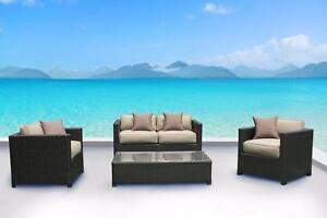FREE Delivery in Nanaimo! Outdoor Patio Wicker Sunbrella Conversation Sofa Set by Cieux! Brand New!