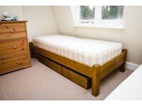 Warren Evans small single wooden bedframe, underbed storage and mattress