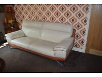 DFS 3 and 2 Seater sofas and footstool contempory with a retro twist