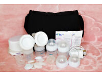 Philips Avent Comfort Electric Double Breast Pump New Bottles Teats Lansinoh Bag