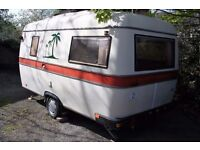 Rare vintage 3-4 berth touring caravan built by Pedersen in Denmark in 1980, good clean and dry