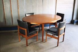 1970's mid century dining set with Macintosh table and 4 Danish dining chairs