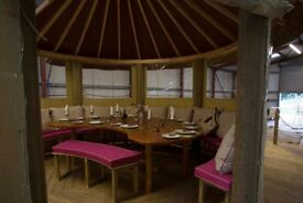 Luxury bespoke garden gazebo seats 10/14 people canvas covers all round for use all year