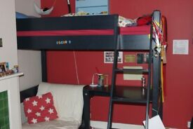 High Bed with Futon & Desk