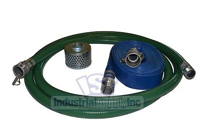 2 Green Pvc Fcam X Mp Suction Hose Trash Pump Kit W100 Discharge Hose Fs