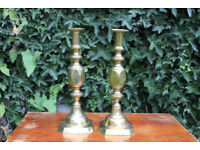 Pair of Stunning Rare Ace of Diamonds Brass Candlesticks Antique Victorian Candle Holder