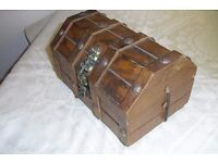 Vintage Wooden Jewellery Casket With Lock,Inner Compartment, Red Felt & Rivets