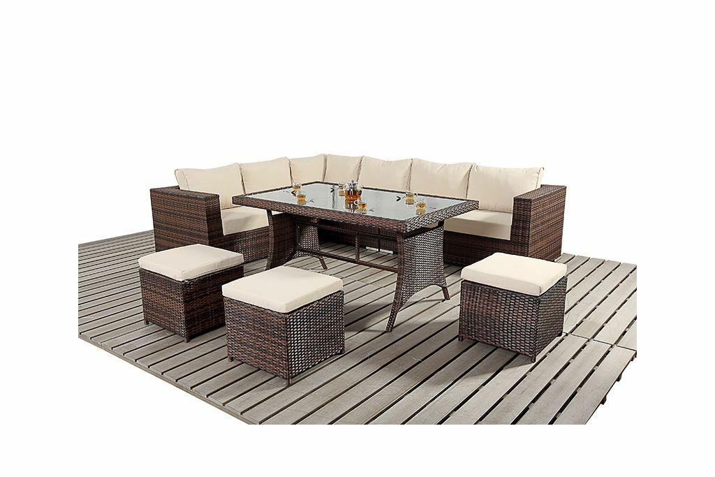 Garden Furniture - 9 SEATER RATTAN GARDEN FURNITURE SOFA DINING TABLE SET CONSERVATORY OUTDOOR