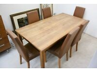 NEXT OAK DINING TABLE AND SIX HIGH BACK CHAIRS
