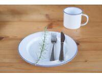 Enamel Plates Hire – Outside Wedding Event Garden Party Bristol Enamelware Dinnerware Crockery White