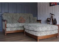 Designer ERCOL BERGERE 3 seater sofa and footstool suite
