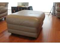 Large Leather Pouf