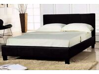NEW FLAT PACKED LEATHER BED WITH SPRUNG MATTRESS