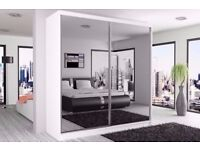 Berlin Sliding Mirrored Wardrobe size 120/150/180/203/250cm and 5 Avaliable Colors