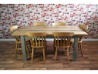 Solid Hardwood Chunky Rustic Farmhouse Dining Table Set - 6 Seater
