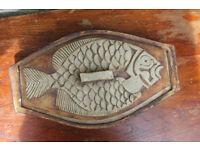 Large Heavy Quantock Studio Pottery Fish Dish Serving Dish Fish Bones Vintage Handmade Art Pottery