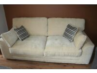 Beautiful cream fabric sofa with cushions in perfect condition as new £240