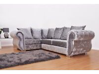 Chesterfield Left Hand Corner Sofa Crushed Velvet Sofa -Fast & Free 2 Man delivery