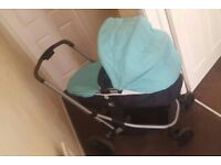 Mothercare pram light blue with car seat attachment