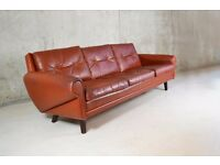 Danish 1970's mid century Skippers of Mobler 3 seater brown leather sofa with wrap over arms