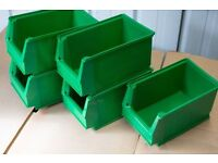40x stacking new storage boxes, plastic parts bins