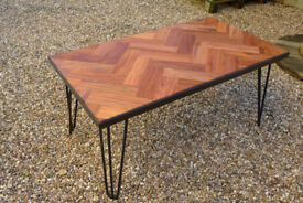 Reclaimed Mahogany Parquet Flooring Herringbone Coffee Table