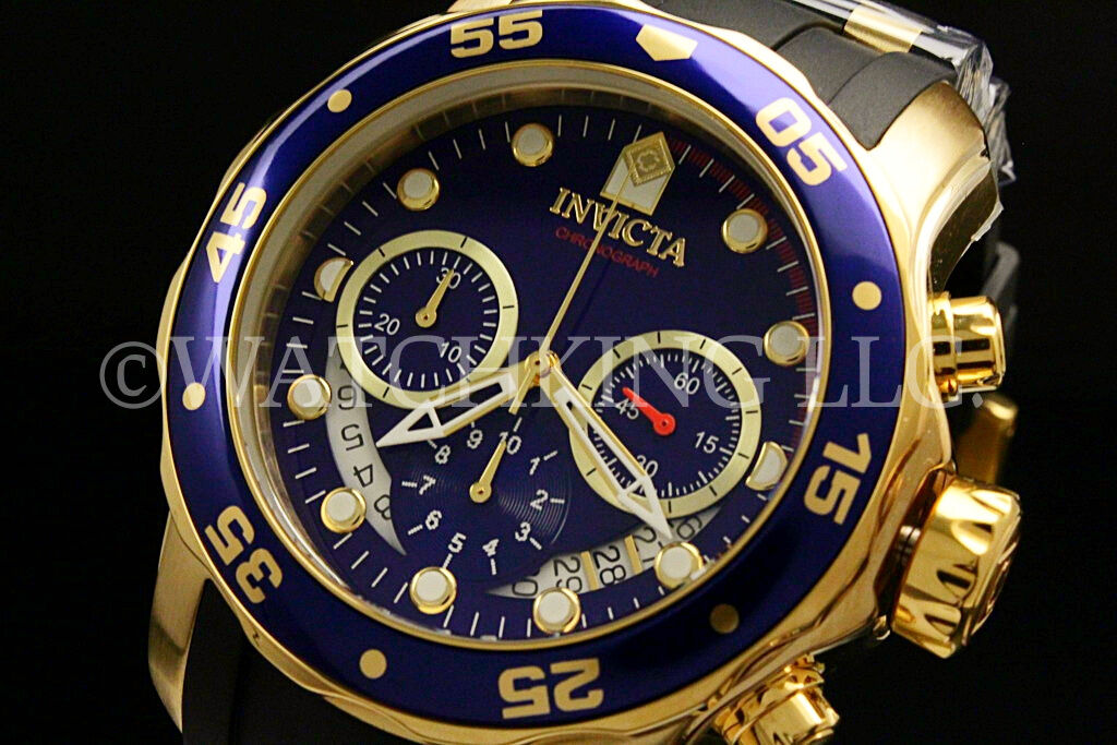 New Invicta Men's Scuba Pro Diver Chrono 18K Gold Plated Blue DialS.S Poly Watch
