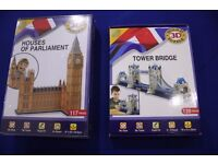 Houses of parliament and Tower bridge 3D Puzzles (2 for 1)
