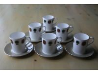 6 Retro Style Coffee Cups and Saucers-Mayfair Bone China