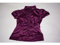 Burgundy Red satin top: Size 8