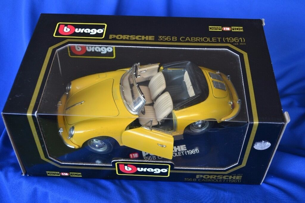 Burago Diamond 1/18 scale Porsche356 Cabriolet cod 3031 model car in excelent conditionin Folkestone, KentGumtree - Burago Diamond 1/18 scale Porsche356 Cabriolet cod 3031 model car BURAGO Diamond 1/18 Scale Porsche 356 B Cabriolet in Yellow cod 3031 Car has opening bonnet, boot and both doors, detailed engine, Steerable wheels, Car has only been out of the box...