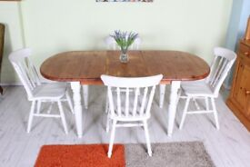 DELIVERY OPTIONS PINE FARMHOUSE SHABBY CHIC PAINTED EXTENDABLE TABLE & 4 CHAIRS