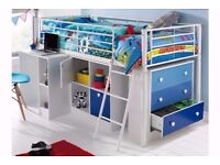 Brand New Kids Single Bed High Sleeper 3 Drawers Cube Unit Cupboards Pull Out Desk - Blue White