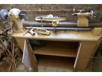 Myford ML8 Woodworking Lathe plus mortising attachment. Cream, in working order.