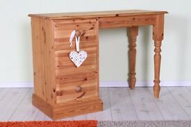 QULITY SOLID PINE DRESSING TABLE 3 DRAWERS TURNED LEGS - CAN COURIER
