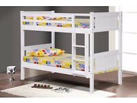 Quality Solid White Wooden Kids Bunk Beds Single 3ft Size- Brand New