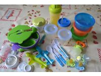 Baby cups, cutlery, containers, dummies