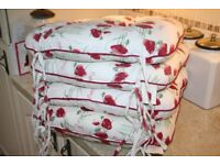 Set of 4 Kitchen/Dining Room Chair Cushions Shabby Chic