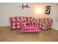 Burlington pink fabric 3 seater grand sofa, patterned fabric snuggler chair and plain fabric chaise