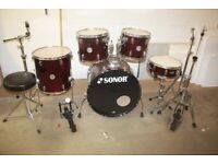 Sonor Force 505 Wine Red Full 5 Piece Drum Kit (22in Bass) + Stands + Stool + Cymbal Set