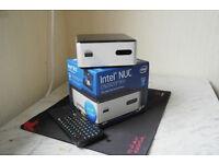 Superfast boxed Intel NUC small form media PC. 120GB SSD. 500GB external HDD. 8GB RAM. HDMI. USB 3.0