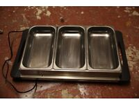 Stainless Steel 3 Pan Large Buffet Food Server & Warmer Hot Plate Tray