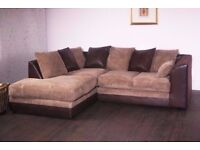 LEATHER BYRON JUMBO CORD DOUBLE PADDED SOFA AVAILABLE IN CORNER OR 3+2-PAY ON ARRIVAL-EXPRESS DROP