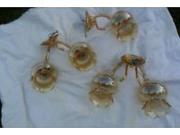 Set of 5 wall brass ceiling lamps fittings and lamp shades.